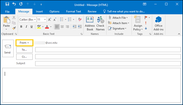how to change from name in outlook 2016